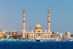 EL Mina Masjid Mosque em Hurghada, uma vista do mar, Egito fotografia de stock