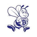 El minero de la abeja guarda el bitcoin del oro Fotos de archivo libres de regalías