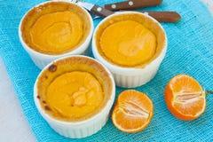 El mini queso hecho en casa se apelmaza con las mandarinas Foto de archivo libre de regalías