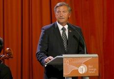 El ministro de asuntos exteriores de Eslovenia Karl Viktor Erjavec en la ceremonia de inauguración del negocio sangró foro estrat fotografía de archivo