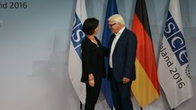 El Ministro de Asuntos Exteriores federal Dr Frank-Walter Steinmeier acoge con satisfacción a Christine Muttonen almacen de metraje de vídeo
