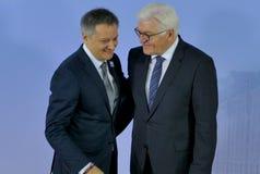 El ministro Dr Frank-Walter Steinmeier acoge con satisfacción a Gilbert Saboya Sunye Fotos de archivo