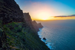 El Mirador del Balcon. Beautiful sunset on the rocky atlantic coast in the west part of Gran Canaria island. Spain Stock Photos