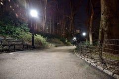 El mirar abajo la trayectoria del parque de la ciudad se encendió con posts de la lámpara en 8 Foto de archivo libre de regalías