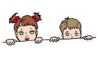 El mirar a escondidas del muchacho y de la muchacha stock de ilustración