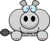 El mirar a escondidas del rinoceronte de la historieta Imagen de archivo libre de regalías