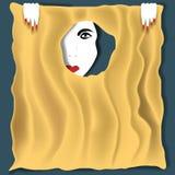 El mirar a escondidas a través de un agujero en tela rasgada imagen de archivo libre de regalías