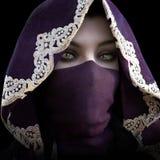 El mirar fijamente femenino encapuchado enmascarado misterioso la cámara stock de ilustración