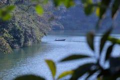 El mirar a través del follaje un barco en un lago en Nepal Imagenes de archivo