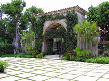 El Mirasol Entrance Gate, Palm Beach, FL stock images
