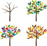 El mismo árbol en diversas estaciones stock de ilustración