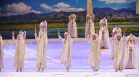 El misterio de la luna del ballet de la ceremonia-Hui del rezo sobre Helan Imágenes de archivo libres de regalías