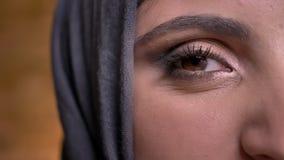 El mitad-retrato del primer de la mujer musulmán magnífica en hijab con maquillaje brillante que sonríe en cámara encendido brick metrajes
