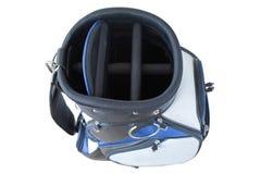 El múltiplo embolsa la bolsa de golf en negro blanco azul con la liberación rápida Foto de archivo libre de regalías