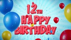 el 12mo saludo rojo y los deseos del feliz cumpleaños con los globos, confeti colocaron el movimiento libre illustration