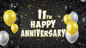 el 11mo saludo y deseos felices del negro del aniversario con los globos, confeti colocaron el movimiento stock de ilustración