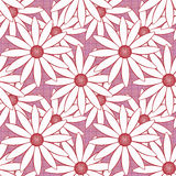 El modelo abstracto inconsútil con las flores adorna textura elegante en fondo rosado Fotos de archivo