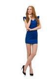El modelo alto en el vestido azul aislado en blanco fotos de archivo