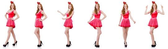 El modelo bastante joven en el mini vestido rosado aislado en blanco Imágenes de archivo libres de regalías