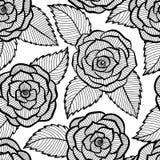 El modelo blanco y negro inconsútil en rosas y las hojas atan Fotografía de archivo