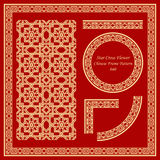 El modelo chino del marco del vintage fijó la línea cruzada de la flor de 040 estrellas ilustración del vector