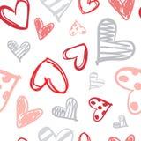 El modelo con los corazones coloridos garabatea el fondo inconsútil del día de tarjetas del día de San Valentín libre illustration