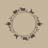 El modelo de animales domésticos en un círculo Ilustración del Vector