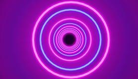 El modelo de círculos de neón que brillan intensamente azules y rosados, rinde, estilo retro Fotos de archivo