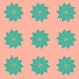 El modelo de hermoso, turquesa florece con los pétalos oblongos en un melocotón, fondo rosado apacible Ilustración del vector Fotos de archivo libres de regalías