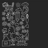 El modelo de la guarder?a, los ni?os exhaustos cultiva un huerto los elementos modelo, dibujo del garabato, ejemplo del vector, m stock de ilustración