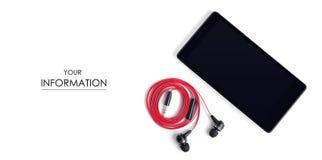 El modelo de la música de los auriculares del mp3 del smartphone del teléfono móvil Fotos de archivo