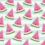 El modelo de las frutas del kawaii de la rebanada del triángulo de la sandía fijó en las líneas decorativas fondo del color libre illustration