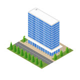 El modelo de los edificios de cristal modernos en el isométrico Fotos de archivo libres de regalías