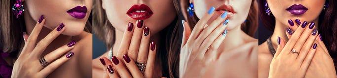 El modelo de moda de la belleza con diverso maquillaje y el clavo diseñan la joyería que lleva Sistema de la manicura Cuatro mira imagenes de archivo