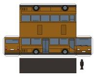 El modelo de papel del autobús marrón stock de ilustración