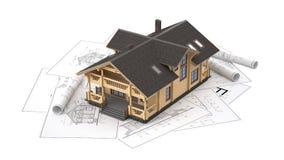 El modelo de una cabaña de madera en los dibujos del fondo Fotos de archivo libres de regalías