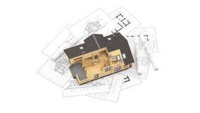 El modelo de una cabaña de madera en los dibujos del fondo Fotografía de archivo libre de regalías