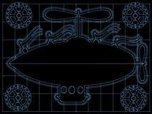 El modelo del dirigible de la fantasía engrana, señala el esquema por medio de una bandera encendido Fotos de archivo libres de regalías