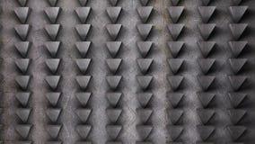 El modelo del extracto de la pared del metal de los triángulos 3D rinde el ejemplo Fotografía de archivo