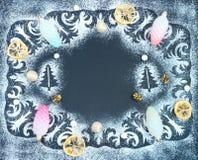 El modelo del invierno, siluetas de los abetos, conos, secó sli del limón Imagen de archivo libre de regalías