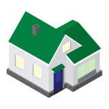 El modelo del vector 3D de la casa en una proyección isométrica Foto de archivo libre de regalías