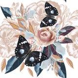 El modelo dibujado mano del vintage detalló las flores y las mariposas ilustración del vector