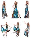 El modelo en el vestido agradable aislado en blanco Imagen de archivo libre de regalías