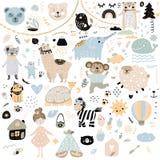 El modelo escandinavo de los elementos de los garabatos de los niños fijó el mono de la mano del color del oso del gato exhausto  imagenes de archivo