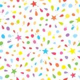 El modelo inconsútil colorido con confeti, protagoniza y salpica Para la celebración del cumpleaños Vector Foto de archivo