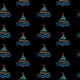 El modelo inconsútil con bordado cose el pequeño barco de imitación stock de ilustración