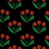 El modelo inconsútil con bordado del tulipán cose la imitación stock de ilustración