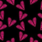 El modelo inconsútil con bordado rosado del corazón cose la imitación encendido libre illustration