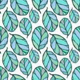 El modelo inconsútil con el azul dibujado mano y el verde se va en el fondo blanco Tela, papel pintado, envolviendo Primavera, ga Foto de archivo