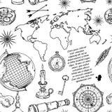 El modelo inconsútil con el globo, el compás, el mapa del mundo y el viento subió ilustración del vector